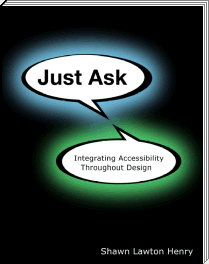 対話形式の吹き出しが描かれた『Just Ask: Integrating Accessibility Throughout Design』の表紙