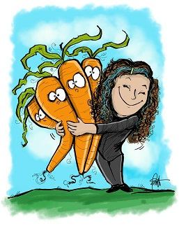 caricature of shawn hugging large carrots